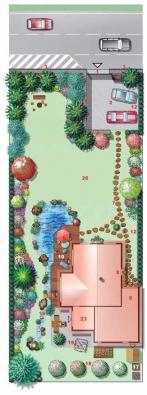 1) Hlavní vjezd na pozemek 2) Zpevněná plocha sloužící jako parkoviště 3) Zvuková bariéra z kamenných gabionů 4) Nádoby na domovní odpad 5) Hustá výsadba vyšších stromů a keřů na zemním valu opírajícím se o gabiony 6) Lavička a ohniště k posezení na stinném místě s výhledem na dům 7) Pěšina směřující ke vstupu do domu a ke garáži umožňuje přejezd motocyklů do garáže 8) Hlavní vstup do domu 9) Garáž a dílna slouží pro restaurování starých motocyklů, proto jsou auta na parkovišti 10) Dřevěná terasa před jídelnou a obývákem 11) Přírodní okrasné a koupací jezírko 12) Živý plot tvořící pohledovou clonu od sousedů 13) Pestrá výsadba květin a keřů podél živého plotu 14) Most přes potok 15) Potok 16) Prameniště potoka 17) Biologický odpad – kompost 18) Ovocné stromy 19) Sušák na prádlo na zpevněné ploše 20) Rekreační trávník 21) Zeleninový a bylinkový záhonek 22) Zahradní domek na nářadí 23) Hostovský pokoj s terasou.