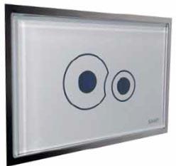 Dvojčinné elektronické tlačítko v provedení bílé sklo, cena 13 500 Kč (SANIT).