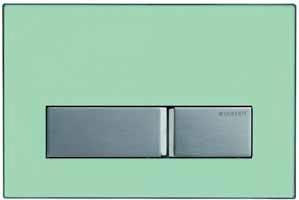 Tlačítko Sigma 50 lze na zakázku opatřit destičkou z libovolného materiálu, cena základního modelu od 4 668 Kč (GEBERIT).