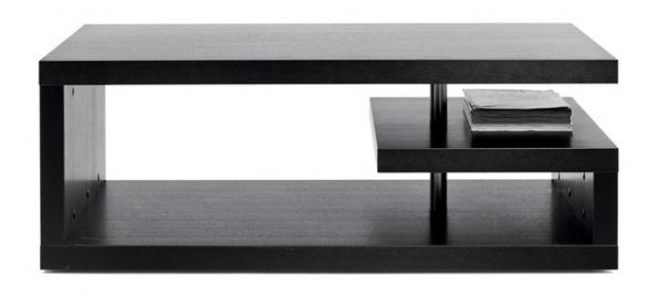Konferenční stolek s úložným prostorem (BoConcept), materiál černý mořený dub.