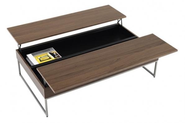 Multifunkční konferenční stolek Occa (BoConcept) s úložným prostorem, dvoukřídlý, materiál ořechová dýha a broušená ocel, rozměr 32,5 x 120,5 x 70,5/109,5 cm.