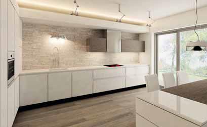 Kuchyňská linka je navržena z bíle lakovaných MDF desek v provedení s vysokým leskem. Skládá se z úložné části (na celou výšku místnosti) a velkorysé pracovní plochy s mycím a varným centrem.