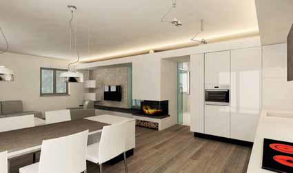 Ústředním bodem obývacího pokoje je krbová těleso s hladkou bílou omítkou. Do obývacího pokoje architekti navrhli nízkou sestavu se dvěma malými nástěnnými skříňkami z lakovaných MDF desek, i u ostatního vybavení převažují světlé barvy.