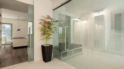 Také do společné obývací části domu vedou posuvné skleněné dveře. Zasouvají se do sádrokartonového pouzdra za krbovým tělesem.