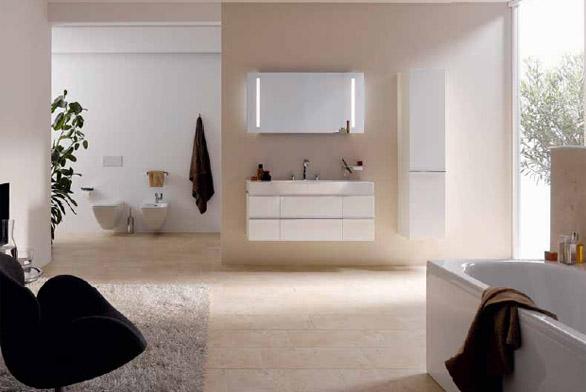 Koupelnová série Case for Palace působí díky jednoduchým tvarům a lakovanému provedení s vysokým leskem luxusním dojmem. Na výběr jsou také dva typy duhového dekoru a dalších 38 barevných variant. Skříňku pod umyvadlo se dvěma zásuvkami o šířce 120 cm koupíte za 23 790 Kč (LAUFEN).