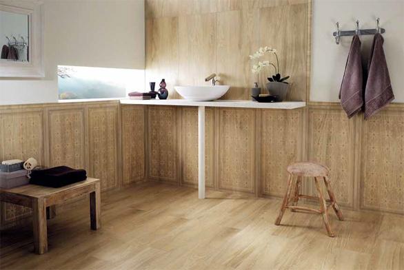 Kolekce Acer ze série Lignum je napohled k nerozeznání od obkladů a dlažeb z přírodního dřeva. Nabízí formáty 24 × 96 cm a 48 × 96 cm, ceny se pohybují kolem 2 000 Kč/m2. Prodává studio Mondo Ceramica.