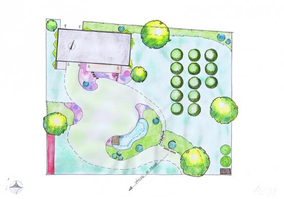 Jezírko v zahradě – půdorys