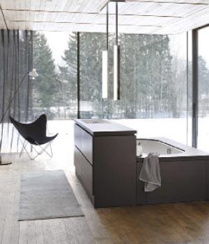 Koupelnový systém Be yourself (ALAPE), nábytkový blok určený kumístění do prostoru, vněmž je usazená vana, umyvadlo iumyvadlová skříňka, cena dosud nebyla stanovena, ALAPE.