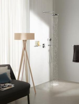 Sprchová sada ze série Gentle (DORNBRACHT), dešťová sprcha snástěnným připojením, Ø 22 cm, podomítkový termostat spřepínáním mezi hlavovou a ruční sprchou, nástěnná polička, vše vpovrchu chrom, cena od 58000 Kč, DORNBRACHT.