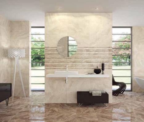 Série Nairobi, leštěný žilkovaný obklad nerozeznáte od mramoru. Formát 316 x 632 mm, cena 580 Kč/m2 (SAPHO KOUPELNY).