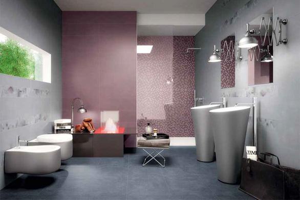 Obklad Violet Fiore Listello ze série Fabric (Marca Corona), 12 × 75 cm, cena 806 Kč/ks (KERAMIKA SOUKUP).
