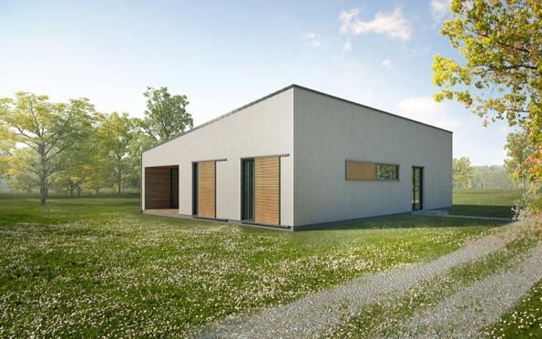 Základní hmota domu je členěna dvěma vloženými venkovními prostory, které fungují jako kryté terasy.