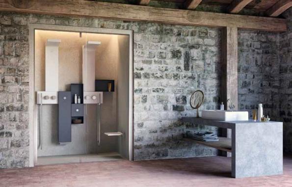 Modulární koupelnový systém Osmos (GLASS): 2 sprchové panely stermostatickou baterií, parní modul saromarozprašovačem, zásobník studené vody selektrickým ovládáním, 2 odkládací poličky, celková cena 175 195 Kč, VEST.