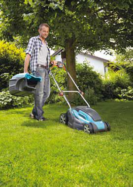 Elektrická sekačka PowerMax si poradí skaždým trávníkem, svysokou ivlhkou trávou (GARDENA).