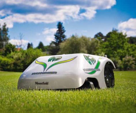 Robotická sekačka Wiper Runner X poseká plochu do1 900 m2, výška sečení 2 až 5,6cm, baterie li-ion smimořádně dlouhou životností, automatické dobíjení, dešťový senzor, dokovací stanice, vymezení sečené plochy vodícím kabelem, 7 let záruky, zprovoznění zdarma (Mountfield).