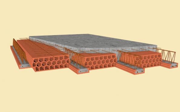 Řez stropní konstrukcí zkomponentů KM Beta. Monolitická deska nad tvarovkami musí být před betonáží vyztužena svařovanou sítí kari.