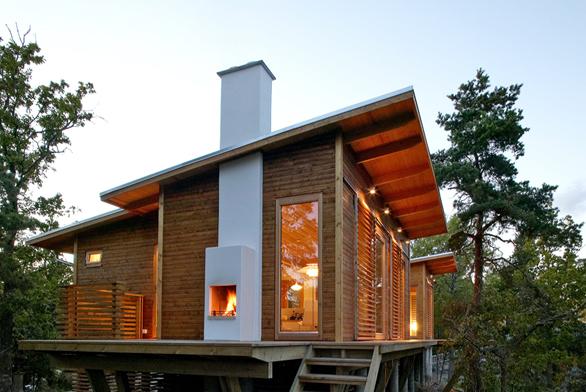 Komínový systém Absolut umožňuje itakové elegantní řešení pro domy postavené vpasivním standardu (SCHIEDEL).