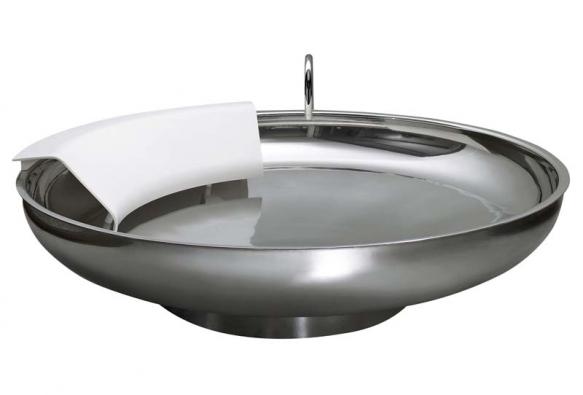 Kruhová vana Ufo (Agape), nerezová ocel amateriál Exmar (opěrka),  cena 374497Kč,  www.keramikasoukup.cz.