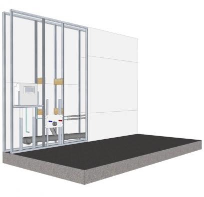 Zhlediska rychlosti výstavby ihmotnosti nových stavebních konstrukcí, vedení vnitřních rozvodů ainstalace sanitárního vybavení se jako vhodné řešení jeví suchá montáž instalačních předstěn ze sádrokartonu spodomítkovým systémem Geberit (Rigips).