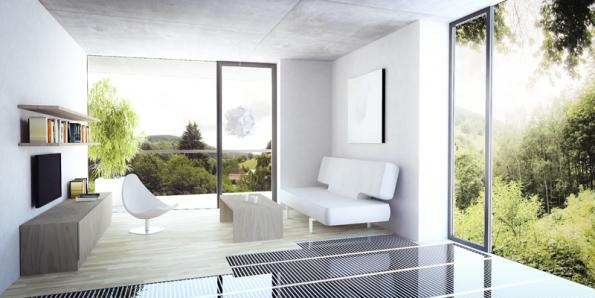 Elektrické podlahové topení ECOFILM je díky své zanedbatelné tloušťce ideální pro rekonstrukce idodatečné instalace (FENIX).