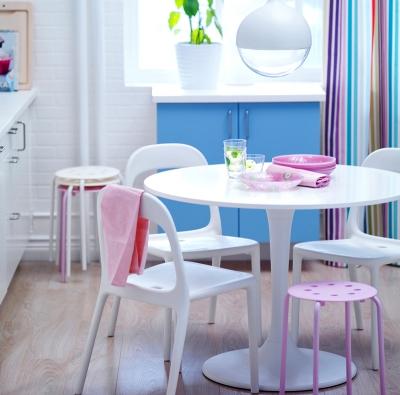 Stůl Docksta (Ikea), dřevovláknitá deska, noha vyztužený polyamidový plast, Ø 105 cm, v. 75 cm, cena 3690 Kč, www.ikea.cz.