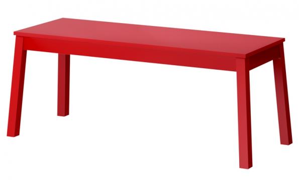Lavice Sigurd (Ikea), dřevotříska,  ABS plast, masivní buk, akrylová barva, 140 x 43 x 45 cm, cena 1490 Kč,  www.ikea.cz.