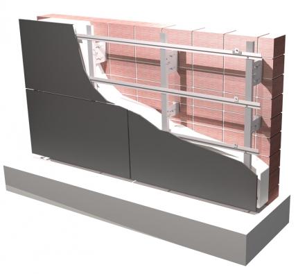 Hliníkový systém – rošt, ukotvený doobvodových zdí – pro montáž desek zavěšených odvětraných fasád (Hafix).