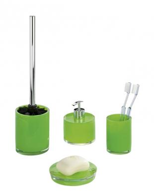 Kzeleným prvkům vpokoji ike koupelnové předložce by se hodily doplňky série Tropic, cena od 234 Kč/ks,  www.grund.cz.