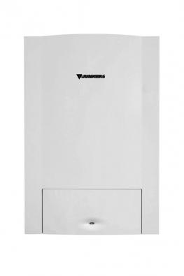 Stacionární kondenzační jednotka CerapurModul sintegrovaným zásobníkem (75, 100, 150, 210l) svrstveným ohřevem teplé vody. Moderní vrstvený způsob přípravy teplé vody umožňuje dosahovat až o17% vyšší účinnost než uběžných zásobníků (až 109%). Vyrábí Junkers.