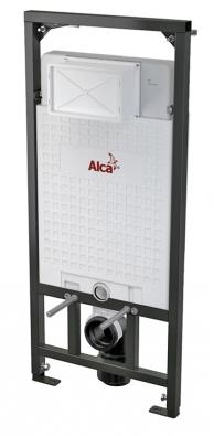 Předstěnový instalační systém pro (suchou) instalaci do sádrokartonu. Pomocí výsuvných noh rámu lze nastavit výšku klozetové mísy vrozsahu 20 cm, cena 5090 Kč, www.alcaplast.cz.