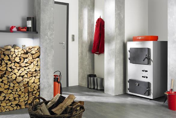 Zplynovací kotel nakusové dřevo sjmenovitým výkonem 25 až 80 kW Viessmann/Vitoligno 100-S.