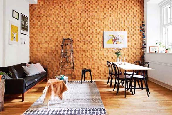 Celoplošný obklad stěny, provedení dub