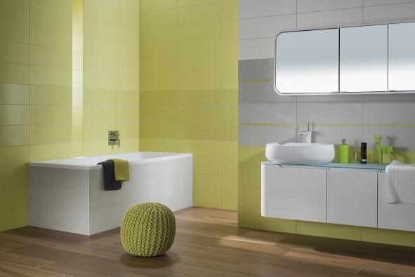 Základem série Tendence je horizontální formát 20x60cm vbílé, zelené, modré, oranžové, růžové, šedé, černé ačervené barvě. Díky několika stylově odlišným dekorům je série velmi variabilní.
