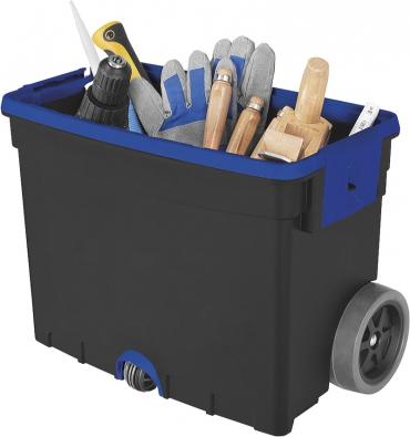 Mobilní kufr na nářadí oceníte zejména v případech, kdy potřebujete něco opravit mimo dílnu, na dvoře, na chalupě atd. Všechno nářadí máte při ruce  a díky kolečkům se tolik nenadřete (OBI).