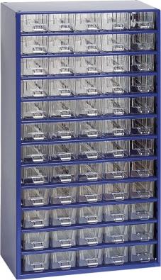 Drobný spojovací materiál jako šroubky, matičky, vruty, hřebíky, nýty, podložky atd. je vhodné uložit do přehledných závěsných ukládacích skříněk  z plastu. Cena 1 099 Kč (OBI).
