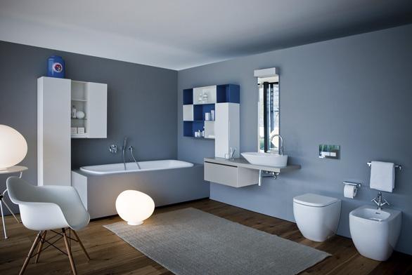 Ukázka interiéru koupelny, zařízené sanitárním vybavením s rukopisem designérského studia Palomba + Serafini.