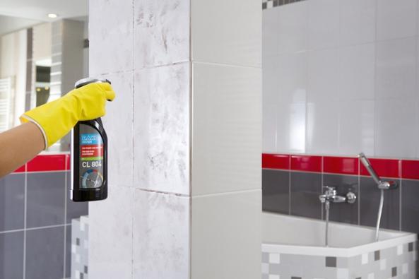 Prostředek CL 804 je vhodný k mytí umyvadel, van, baterií atd. Snadno odstraňuje skvrny a vodní kámen, obsahuje  lesk, který zpomaluje znečištění, cena (0,75 l) 129 Kč.