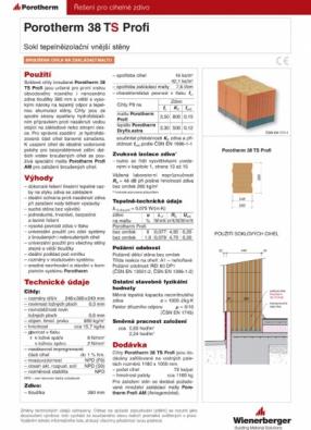 Technický list - Porotherm 38 TS Profi