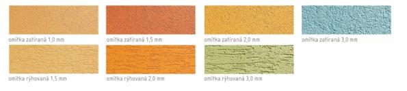 Šlechtěné omítky nabízejí dva typy designu povrchu: zatíranou nebo rýhovanou strukturu omítky. Obě struktury jsou dostupné v různých odstínech a zrnitostech.