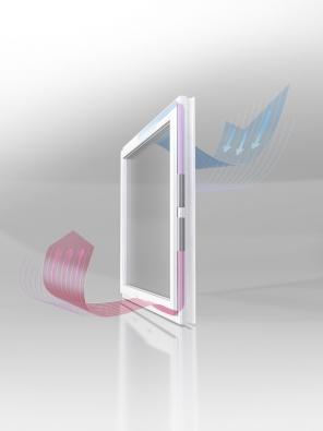 Patentovaný systém GENEO Inovent – nucené větrání srekuperací přes okenní rám.