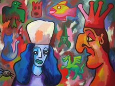 Obraz - Blue Woman Red King and Floating Objects -