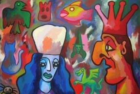 Výstava stuckismu se vrací ke kořenům (Blue Woman Red King and Floating Objects)
