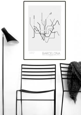 Naordinujte svým stěnám léčebnou skandinávskou kůru v podobně graficky zpracovaného plánku metra v Barceloně!