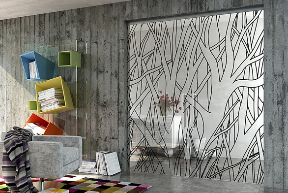 Celoskleněnými dveřmi docílíte vinteriéru vzdušnosti alehkosti avelmi snadno je zkombinujete sostatními materiály abarevností vinteriéru, například ispohledovým betonem (GRAFOSKLO).