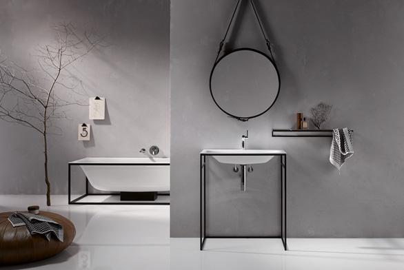 Revoluční design van Bette: objekty zoceli a smaltované titanové oceli se již neskrývají, přebírají centrální úlohu a hoví si vocelovém rámu. Rám je praktická opora vany, či umyvadla a estetický prvek, který dodává barvu.
