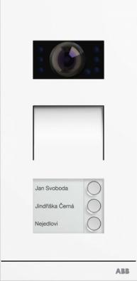Tlačítkové video tablo ABB-Welcome. Návštěvy aobyvatelé spolu komunikují prostřednictvím tlačítkového audio tabla adomovního audiotelefonu či pomocí video verze