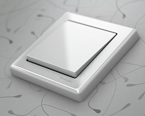 Vypínač santibakteriálním povrchem Active je vyroben ze speciálního plastu skladně nabitými ionty stříbra (SCHNEIDER ELECTRIC).