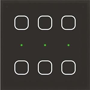 Šestikanálový multifunkční skleněný dotykový ovladač GSB3-60 vsystému iNELS sindikačními dvoubarevnými LED diodami.