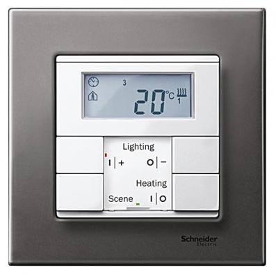 Inteligentní vypínač Merten (systém Schneider Electric) slouží kovládání vytápění, osvětlení, regulaci teploty aknastavení světelné scény.