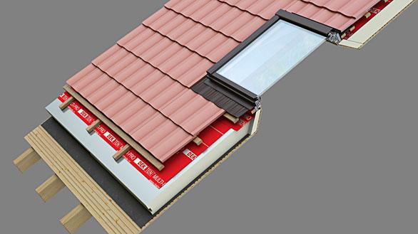 Skladba šikmé střechy stepelnou izolací nad krokvemi asystémové osazení střešního okna spoužitím TOPDEK okenního dílce.